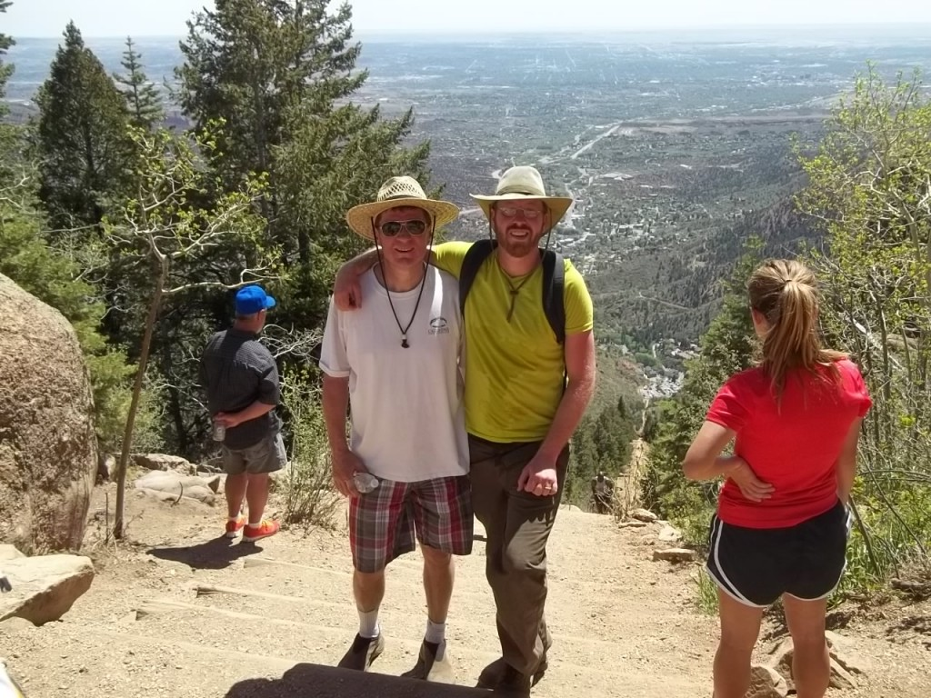 this is uncle dan and i at the top of the incline. it was rough...