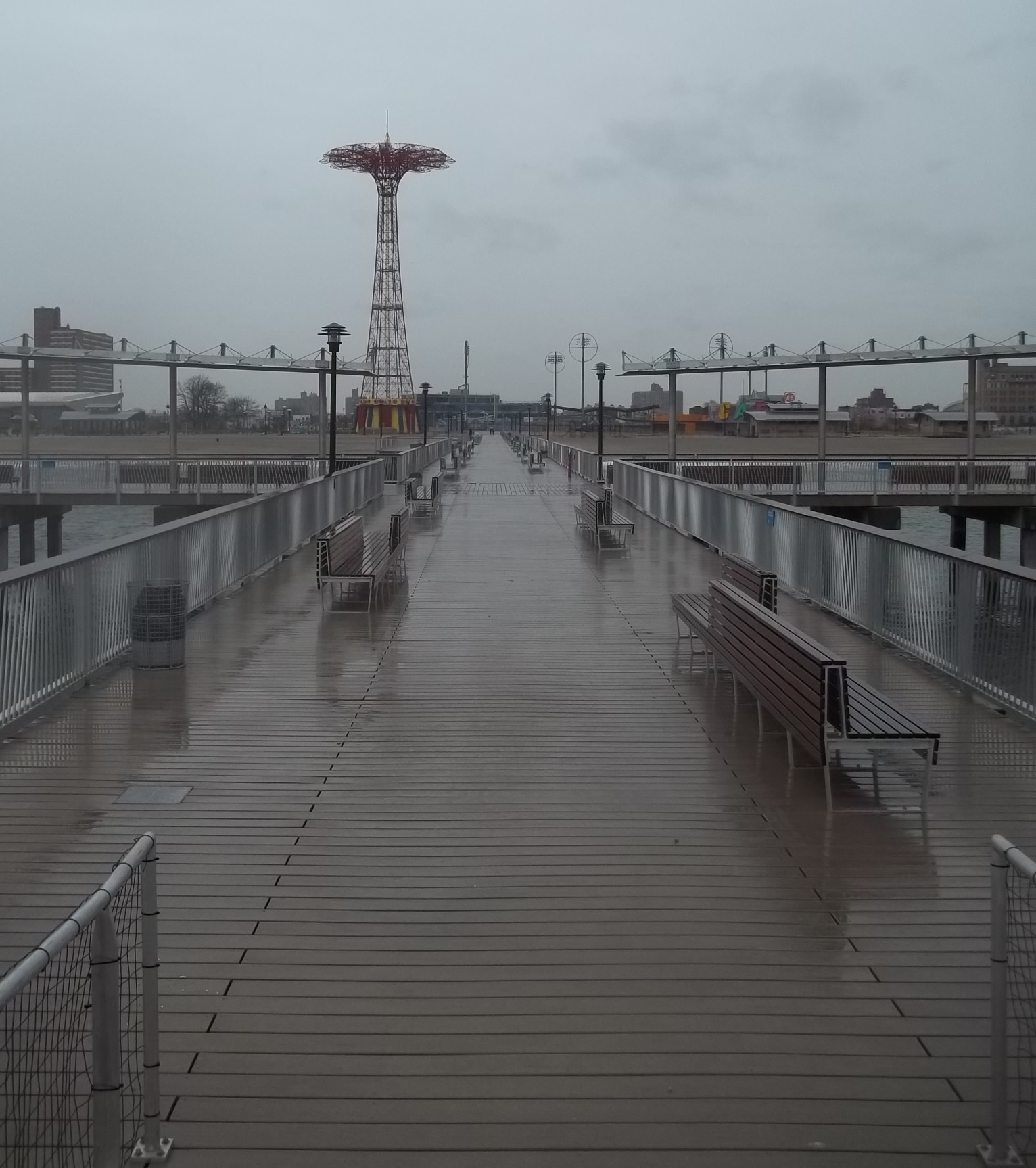 A gloomy view down into Coney Island...
