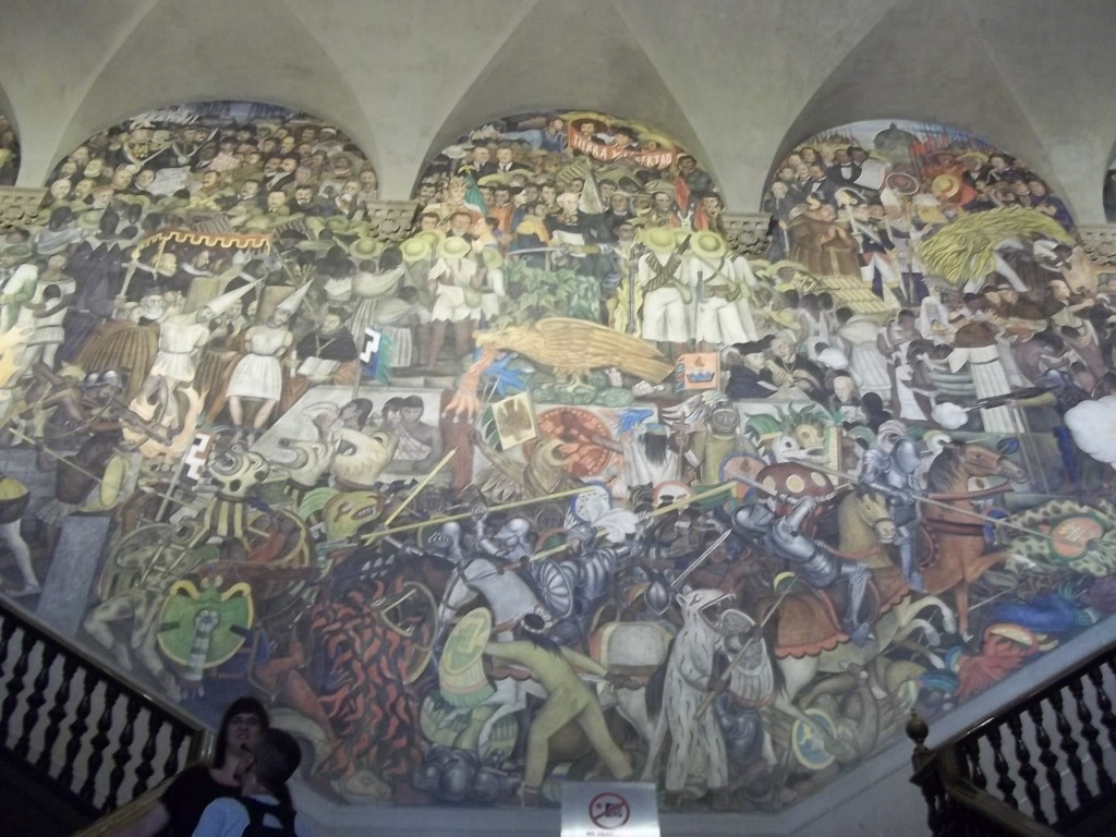 A Juan Diego mural highlighting the history of Mexico.