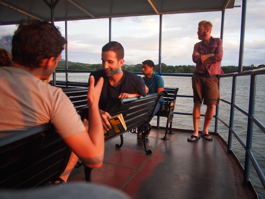On the ferry on the way to Ometepe. Left to right, Jacob, Ben, some stoic dude and then me.