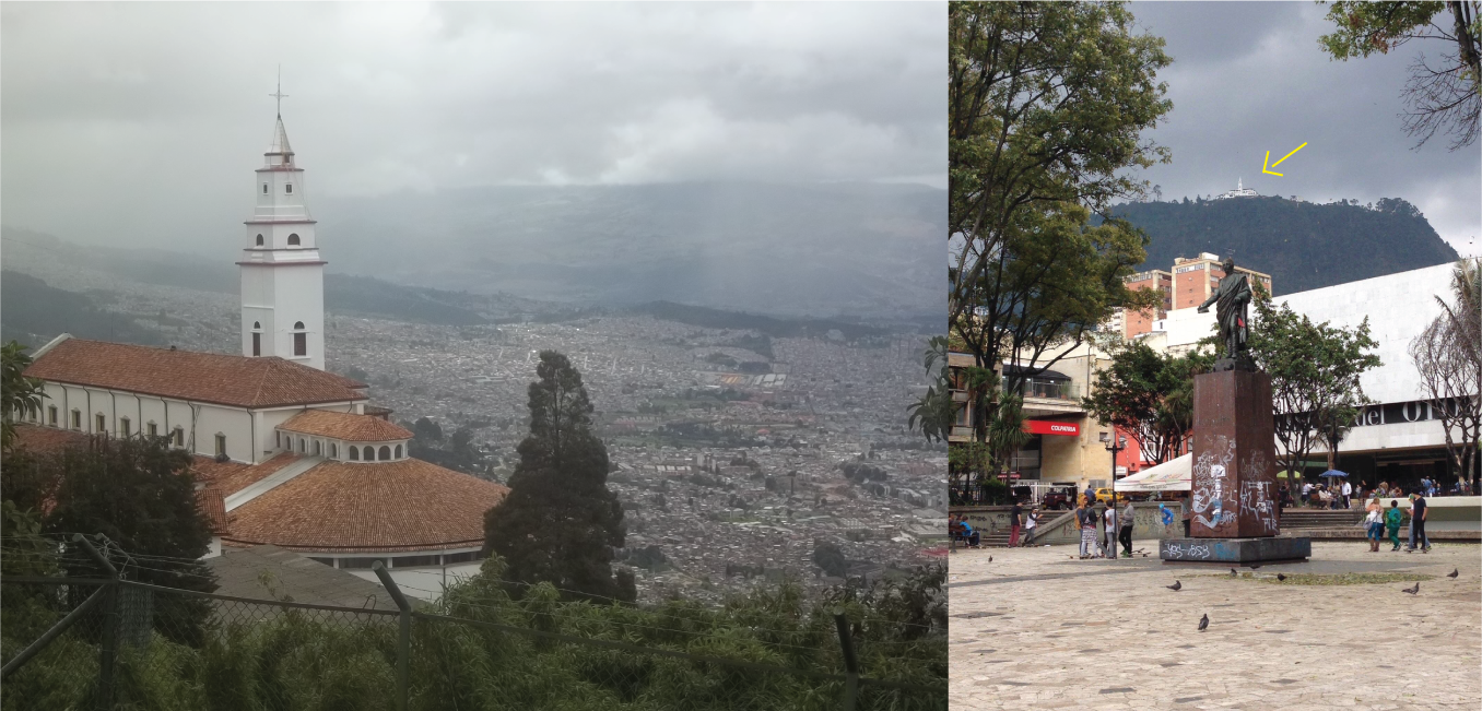 A to-and-from view of Monserrate. The image to the right it is the tiiiiiiiny church up there.